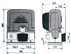 Габаритные размеры привода BK для откатных ворот.