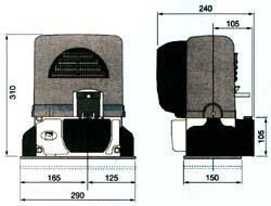 Габаритные размеры привода BX для откатных ворот.