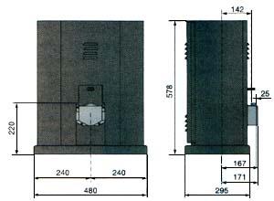 Габаритные размерв привода BY для откатных ворот