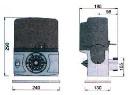 Габаритные размеры привода BZ для откатных ворот.