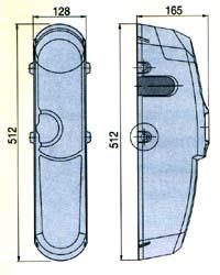Габаритные размеры привода EMEGA для подъемно-поворотных ворот.