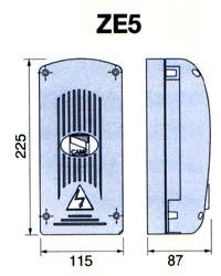 Габаритные размеры блока управления привода EMEGA для подъемно-поворотных ворот.