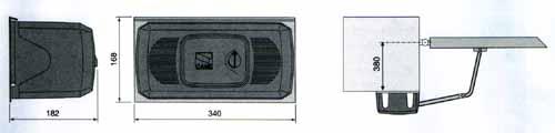 Габаритные и установочные размеры рычажного привода FERNI для распашных ворот.