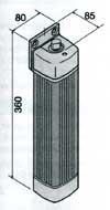 Габаритные размеры привода FLEX распашных ворот или калиток.