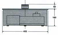 Габаритные размеры привода скрытой установки FROG для распашных ворот.