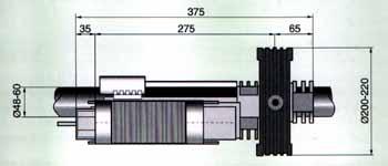 Габаритные размеры привода серии H для рулонных ворот.